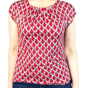 Talbots women's short sleeve red and black tee